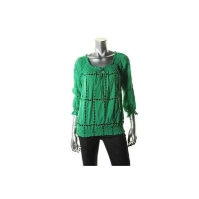 トップス ブラウス インク INC 8287 レディース グリーン Eyelet 3/4 スリーブs Blouse プルオーバーTop Shirt 0