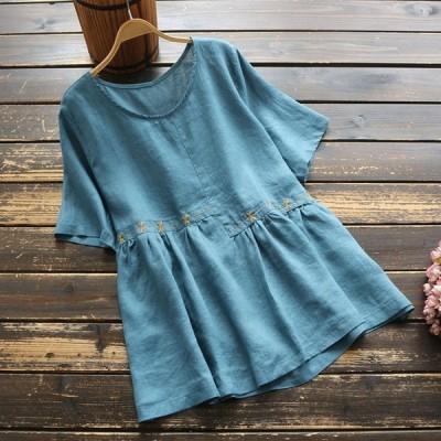 Tシャツカットソーレディース春夏きれいめ40代刺繍丸首半袖プルオーバートップスj87566