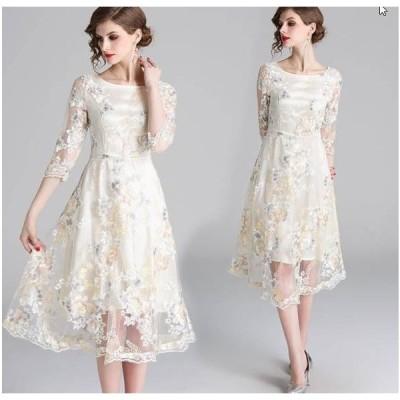 レディース 結婚式 二次会 お呼ばれ お出かけ 披露宴 発表会 20代30代40代 お花刺繍レースワンピースドレス