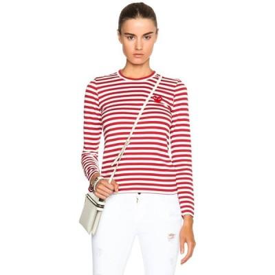 コム デ ギャルソン レディース 長袖Tシャツ トップス Striped Cotton Red Emblem Tee Red & White