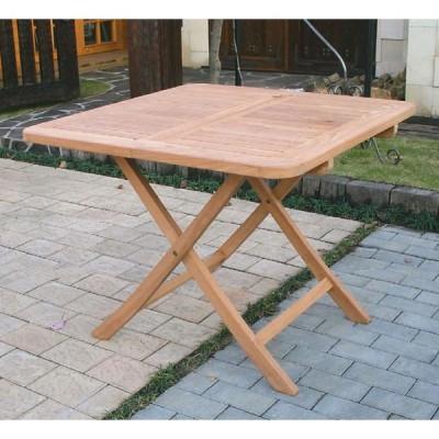ジャービス商事 ガーデンテーブル 天然木無垢材 折り畳みスクエアテーブルB 20713 木製
