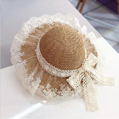麦わら帽子 ストローハット つば広帽 つば広ハット 子供用帽子 大人用  折りたためる  紫外線対