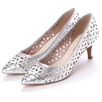 アンタイトル シューズ UNTITLED shoes レーザーカットパンプス (シルバー)