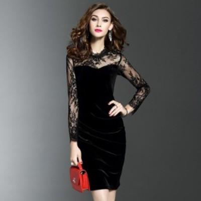 レディースファッションツ 女性のベルベットドレスプラスサイズ2XL 3XL新しい2018春のファッション長袖パッチワーク花メッシュ