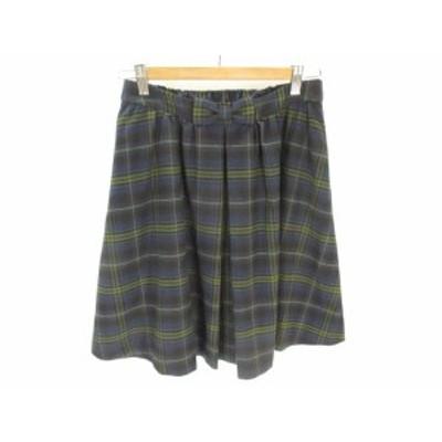 【中古】BON MERCERIE フレアー スカート 膝丈 ミドル チェック 柄 リボン 紺 緑 ネイビー グリーン 38 レディース