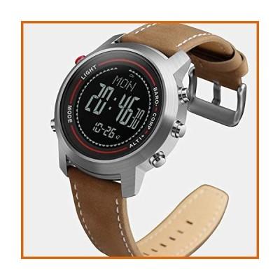 送料無料 JASZW Men's Fashion Sports Watch -Leather Band/Stainless Steel Dial /5ATM Waterproof/Mountaineer Altimeter/Barometer/Thermomete