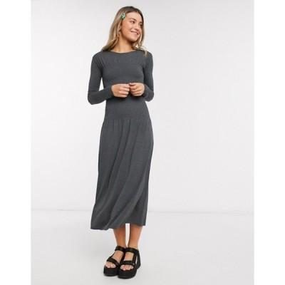 モンキ レディース ワンピース トップス Monki Greta ruched waist long sleeve midi dress in gray