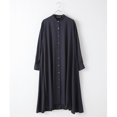 MARcourt/マーコート band collar flare shirt OP navy FREE