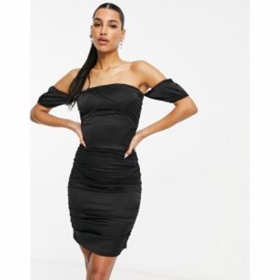 パリジャン Parisian レディース ボディコンドレス タイト ワンピース・ドレス Satin Off Shoulder Bodycon Dress In Black ブラック