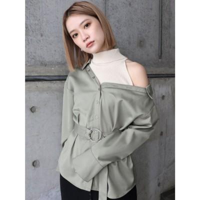 MURUA アシンメトリードッキングシャツ(カーキ)
