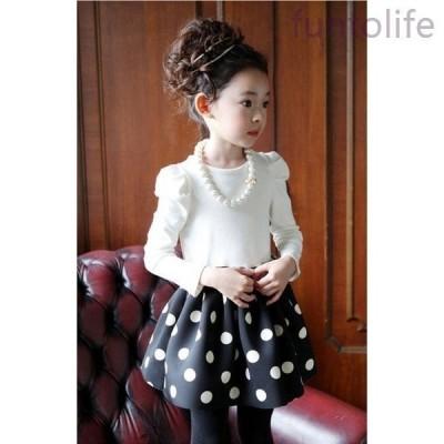 キッズ子ども服子ども服(女の子)ワンピースネックレス付きドット水玉千鳥格子女の子ドレス子供ワンピースフォーマル子どもワンピース子ども