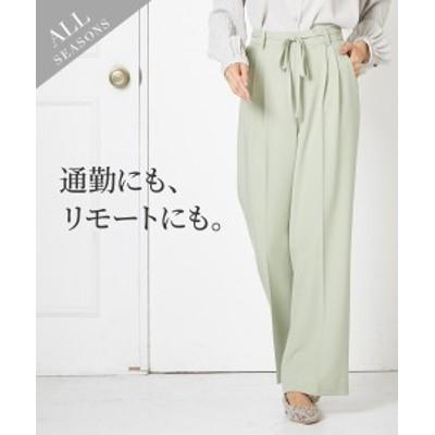 パンツ セミワイド 魅せる色が◎ 共布リボン付 ストレッチ 上下別売スーツ レディース ニッセン nissen