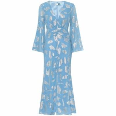 リキソ Rixo レディース ワンピース ミドル丈 ワンピース・ドレス indra metallic silk-blend midi dress Silver Blue