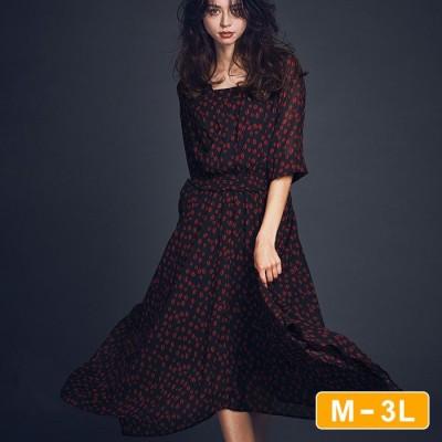Ranan 【M~3L】リップ柄アシメヘムシフォンワンピース ソノタ M レディース
