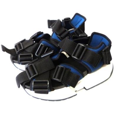 MM6 「プラットフォームランナー」 ストラッププラットフォームサンダル ブルー×ブラック サイズ:36 (原宿店) 210204
