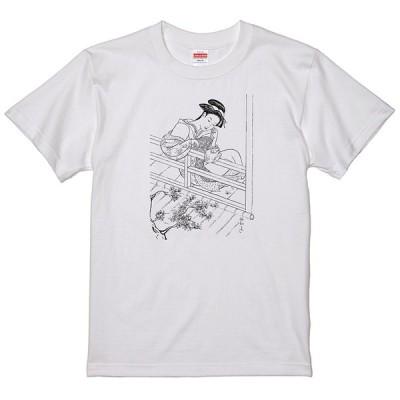 和柄 美人画 Tシャツ 和風 廻り廊下