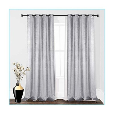 新品DriftAway Cotton Velvet Blackout Lined Thermal Insulated Window Curtain Grommet Single 52 Inch by 84 Inch Silver