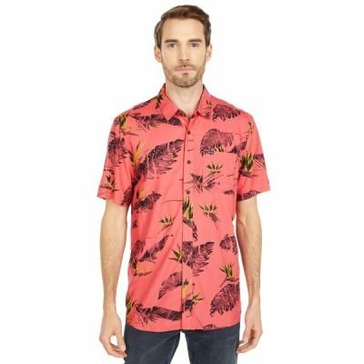 ボルコム シャツ トップス メンズ Floral Erupter Short Sleeve Button-Up Lava Rock Red