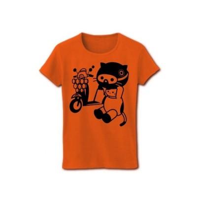 MODSバイクとねこ(モノクロ) リブクルーネックTシャツ(オレンジ)