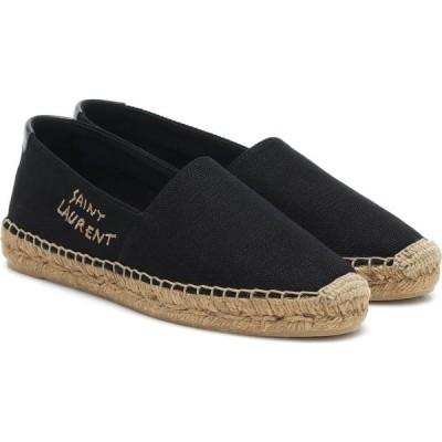 イヴ サンローラン Saint Laurent レディース エスパドリーユ シューズ・靴 Embroidered Canvas Espadrilles Noir/Noir