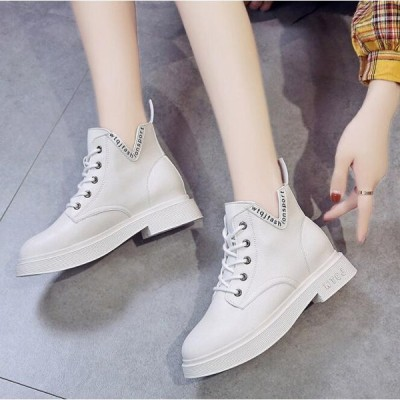 ショートブーツ レディース マーティンブーツ レースアップ ローヒール 編み上げ ショート 歩きやすい 美脚 靴 婦人靴