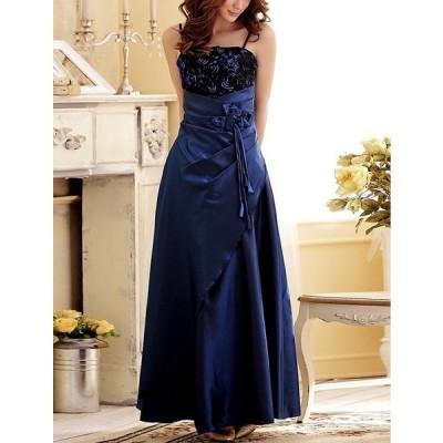 ドレス シフォン フラワー ロング パーティー 大きいサイズ