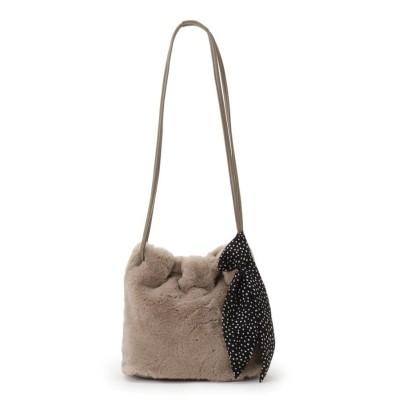 grove(グローブ) エコファー巾着スカーフ付きショルダーバッグ
