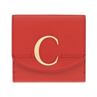 クロエ 財布 二つ折り財布 コンパクト クロエ シー Chloe C レディース レザー レッド CHC19SP056A37640 Plaid Red Compact wallet