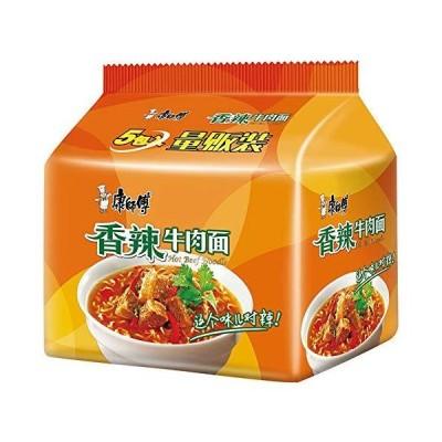 泡面 香辣牛肉面 方便面 インスタント麺 康?傅 ?典系列 香辣牛肉面 五?包 99g*5袋