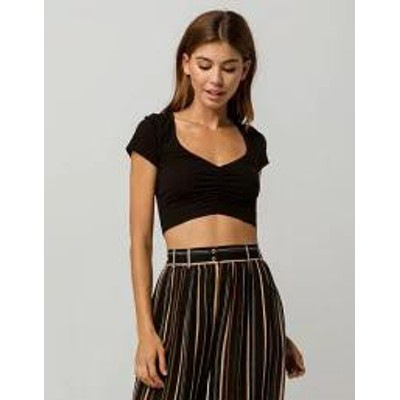 BOZZOLO レディーストップス BOZZOLO Ruched Black Womens Crop Tee  BLACK