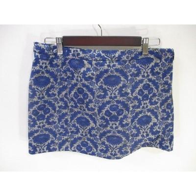 【中古】ザラ ベーシック ZARA BASIC 美品 スカート ショート ミニ 総柄 青 ブルー L レディース 【ベクトル 古着】