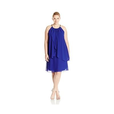 S.L. ファッション レディース Plus-サイズ Embellished Halter ネック Tier ドレス, Iris, 1(海外取寄せ品)