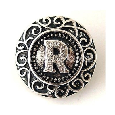 チャーム ブレスレット ハンドメイド Silver Letter R Rhinestone 20mm Interchangeable Jewelry Fits Ginger Snaps