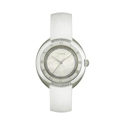 Timex Women 's t2?m593ダイヤモンドアクセントホワイトストラップステンレススチールブレスレット腕時計