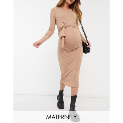ニュールック New Look Maternity レディース ワンピース 七分袖 ミドル丈 ワンピース・ドレス 3/4 Sleeve Ribbed Tie Front Midi Dress In Camel ブラック