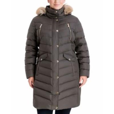 マイケルコース レディース コート アウター Plus Size Faux-Fur-Trim Hooded Down Puffer Coat Dark Moss