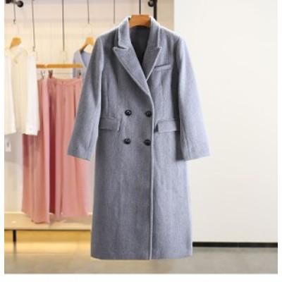 韓国ファッション ウール ダブルコート レディース ロング丈 カジュアル ダブルポケット 秋冬 グレー