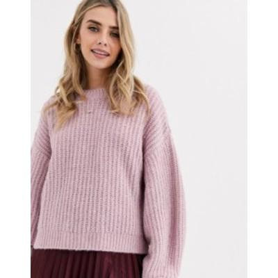 ニュールック レディース ニット・セーター アウター New Look recycled yarn balloon sleeve sweater in lilac Lilac