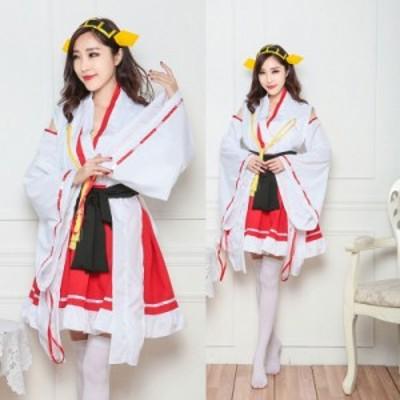 【白×赤/4】 巫女 みこ コスプレ 衣装  コスチューム レディース ファッション 仮装