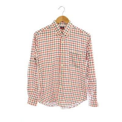 【中古】フォーティーファイブアールピーエム  45R 45rpm チェックシャツ ボタンダウン 長袖 2 赤 白 紺 /KN ■OS メンズ 【ベクトル 古着】