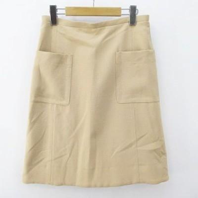 【中古】ザラウーマン ZARA WOMAN 膝丈 台形 スカート S ベージュ系 ストレッチ 裏地 レディース