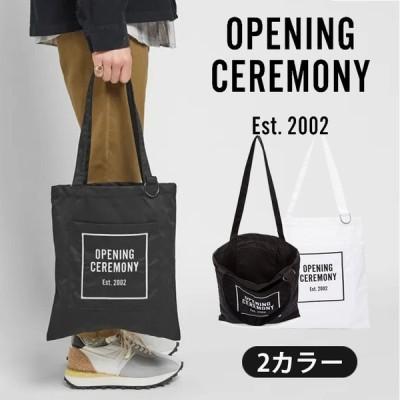 新店オープンセール オープニングセレモニー OPENING CEREMONY オープニングセレモニー トートバッグ バッグ ボックスロゴ エコバッグ 白