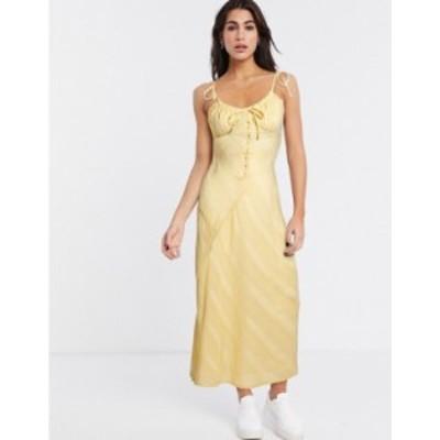 エイソス レディース ワンピース トップス ASOS DESIGN lace insert bias maxi dress with ruched bust Buttermilk yellow