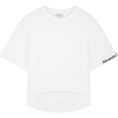 アレキサンダー マックイーン Alexander McQueen レディース Tシャツ トップス white logo-embroidered cotton t-shirt White