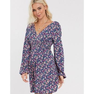 エイソス ミニドレス レディース ASOS DESIGN long sleeve mini dress with shirred waist in ditsy print エイソス ASOS ブルー 青