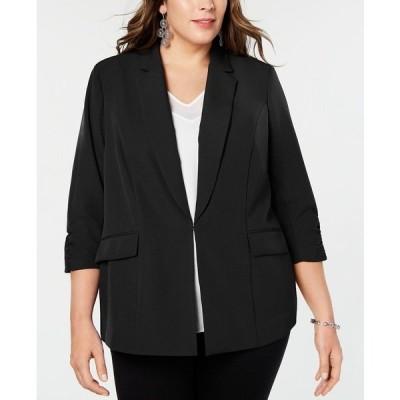 アイエヌシーインターナショナルコンセプト ジャケット&ブルゾン アウター レディース INC Plus Size 3/4-Sleeve Blazer, Created for Macy's Deep Black