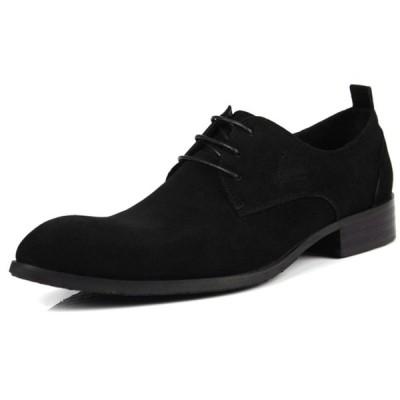 W メンズ ビジネスシューズ スエード チャッカブーツ 本革 革靴 紳士靴 プレーントゥ レースアップ 定番のシューズ オフィス カジュアル(ブラック)036-704
