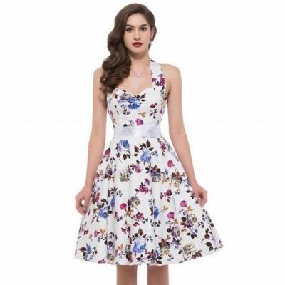 ワンピース レディース パーティードレス ミディアムドレス ドレス 膝丈 ミディアム Aライン 花柄 バラ 薔薇 大人 セクシー かわいい レトロ パ