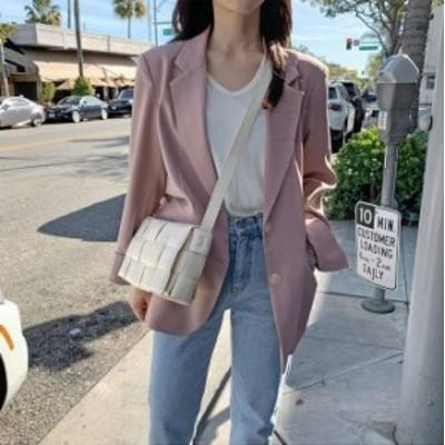 2色 テーラード ジャケット シンプル ピンク ベージュ レディース ファッション 韓国 オルチャン