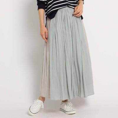 デッサン Dessin 【XS~Lサイズあり・洗える】パウダーサテン切り替えスカート (カーキ&グリーン)